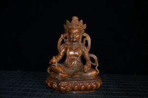 5-9-034-Tibetan-Buddhism-Box-wood-Hand-Carved-Yellow-God-of-Wealth-Buddha-Statue