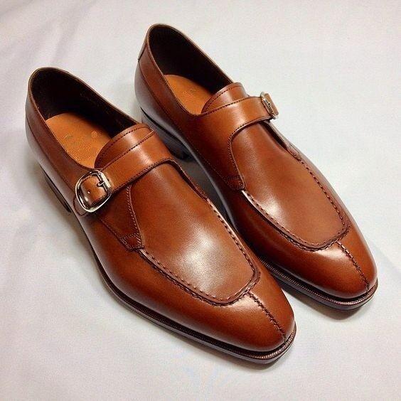 Zapatos De Cuero hecho a Mano Hombres Marrón Tostado formal vestido de monje Zapatos, Hombre, Zapatos para hombres