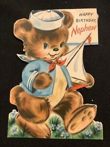 "#3123🌟Vintage 40s Childrens ""Happy Birthday Nephew"" Bear ..."