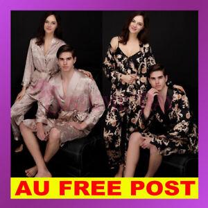 Womens-Mens-Satin-Dressing-Gown-Robe-Sleepwear-Pyjamas-Couple-Set-Lounge-Pajamas