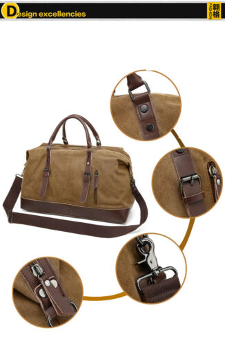 Men/'s Canvas Travel Bags Carry on Luggage Bags Suitcase Tote Weekend Overnight