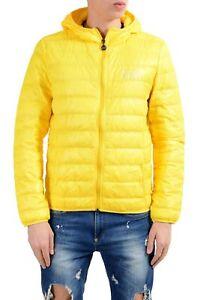 Emporio-Armani-EA7-Men-039-s-Yellow-Duck-Down-Full-Zip-Hooded-Light-Parka-Jacket