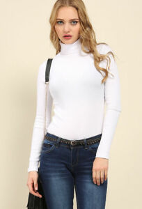 WOMEN-COTTON-RIBBED-POLO-NECK-TOP-JUMPER-TURTLE-NECK-LONG-SLEEVE-PLAIN-TOP