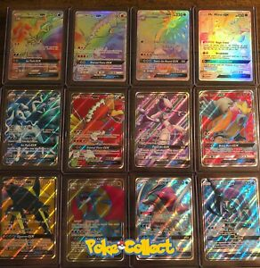 Pokemon-Card-Lot-10-Holos-mit-1-garantiert-GX-Full-Art-Hyper-Secret-Rainbow-selten