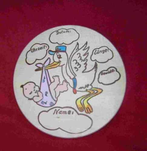 1 Holz Geburtsteller rosa Tolles  Geschenk zur Geburt oder  Taufe oder .....