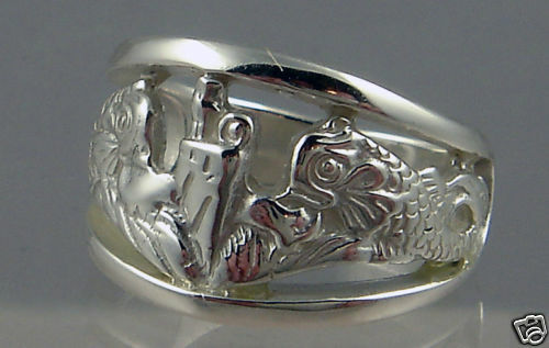 US Navy sous licence sous-marin dauphin de cette dame .925 Sweetheart Ring Taille 6.5