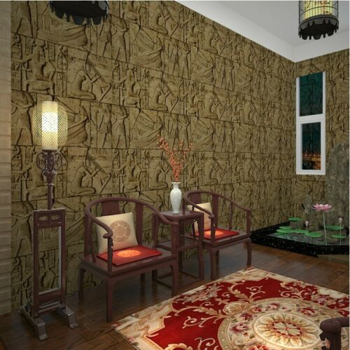 3D PVC Imitation of Egypt Embossed Wallpaper Roll Washable Wall Paper For Walls