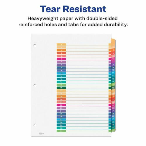 Avery Ready Index Customizable Table of Content Dividers 31 Tab Multicolor