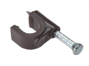 Forgefix-FORRCC67BR-Clip-per-Cavo-Rotondo-Coassiale-Marrone-6-7mm-Scatola-100