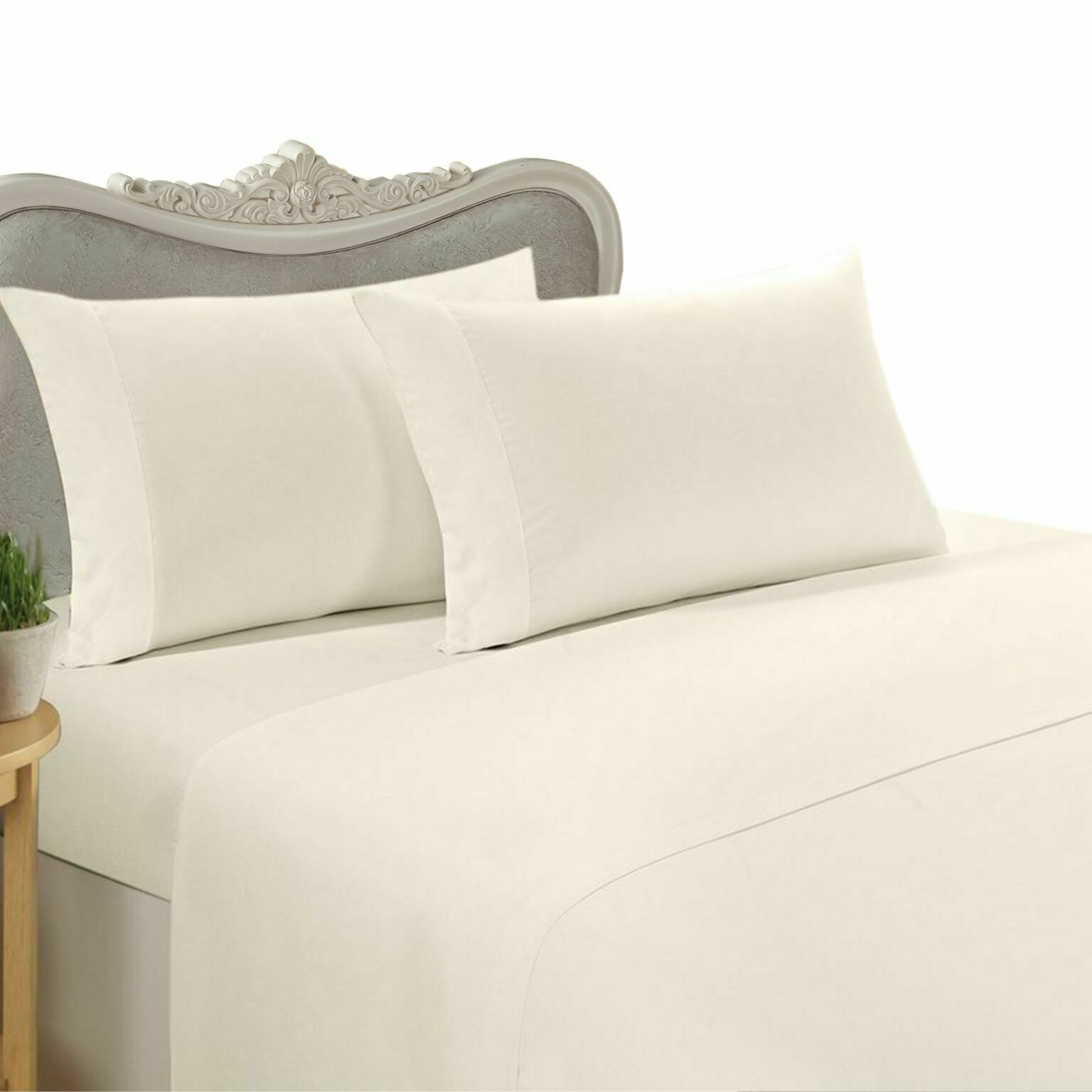 1000 Thread Count 100% Egyptian Cotton Bed Sheet Set, 1000TC, QUEEN, Ivory Solid