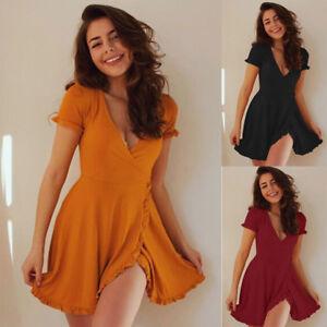 Womens-Summer-V-neck-Short-Sleeve-Boho-High-Waist-Ruffles-Short-Mini-Dress-HQY