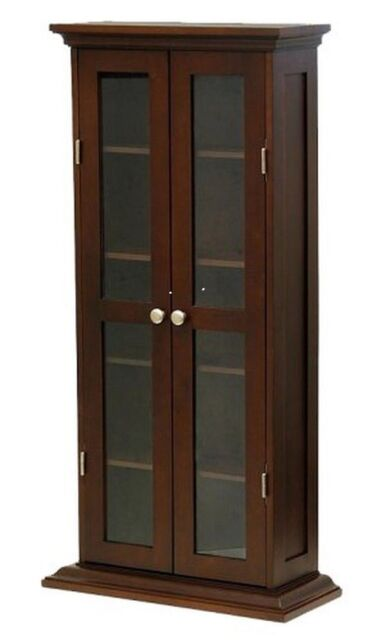 Winsome 94944 Antique Walnut Beechwood Cddvd Cabinet With Glass