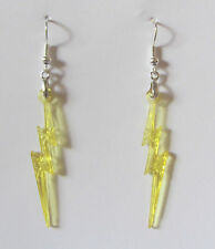 LIGHTENING BOLT EARRINGS YELLOW ACRYLIC CRYSTAL AND SILVER PLATED WIRES