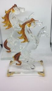 Clear-Crystal-Glass-Horse-Statue-Standing-Figure-Decoration-Christmas-Gift-Boxed