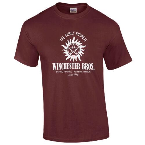 T Shirt-Sobrenatural Brothers Sam Dean Bobby Caza Para Hombre superior Winchester Bros.