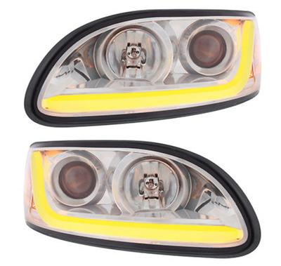 Peterbilt 386 387 Projection Headlight w// Chrome Trim Passenger Side 31253