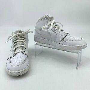 Nike-Air-Jordan-1-Retro-Mid-GS-Kids-Youth-Size-5-5-Y-White-Basketball-Sneakers