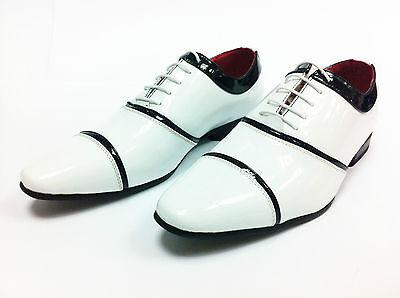 Italienischen Stils Herren Lederoptik Patent Gamaschen Schnürschuhe Weiß größen