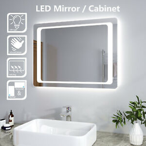 Details About Modern Bathroom Mirror Cabinet Led Illuminated Wall Mounted Infrared Sensor Ip44