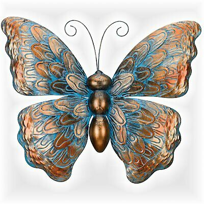 WALL DECOR BLUE BUTTERFLY WITH WILDFLOWERS METAL WALL SCULPTURE WALL ART