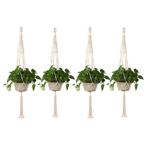 4Pcs Macrame Plant Hangers Garden Flower Pot Holders Legs Hanging Rope Baskets