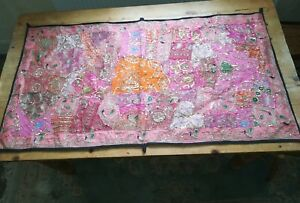 PINK-INDIAN-TAPESTRY-EMBROIDERY-elephant-wallhanging-bohemian-sari-silk-54-x-30-034