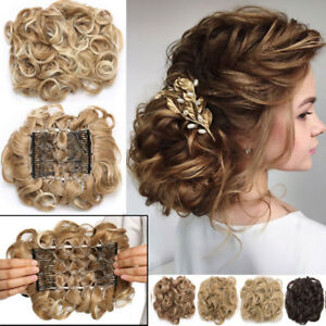 MEGA-LARGE-THICK-Curly-Chignon-Messy-Bun-Updo-Clip-in-Hair-Extensions-AS-REAL-US
