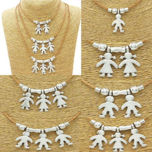 Cute Silver Kids Charms Necklace Boy Girl Pendant Chain Family Mother Jewelry