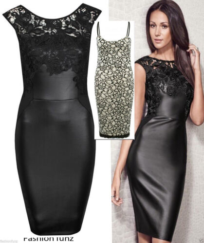 New Ladies Women Celebs Inspired Pu Wetlook Lace Trim Bodycon Party Dress 8-14