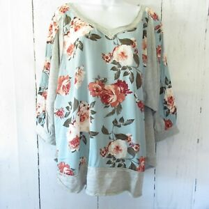 New-Umgee-Top-2X-Dusty-Mint-Green-Floral-3-4-Puff-Sleeve-V-Neck-Plus-Size