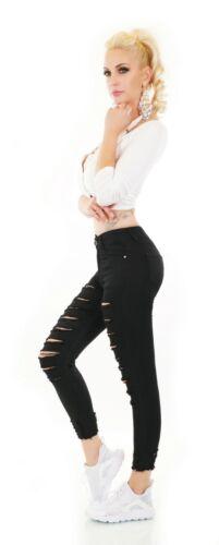 Women/'s Jeans 7//8 Pantalon Taille Haute Tube Skinny Détruit Rips Scraps Cut Out UK