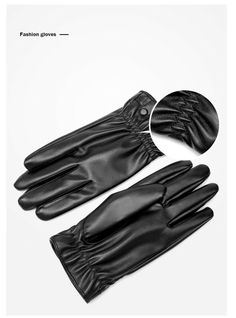 BISON DENIM Men Genuine Sheepskin Leather Gloves Windproof Thermal Warm