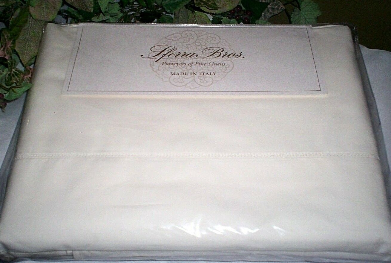 Sferra Crisp Italian Percale LONG STAPLE Cotton Queen,King Sheet Set Ivory  378