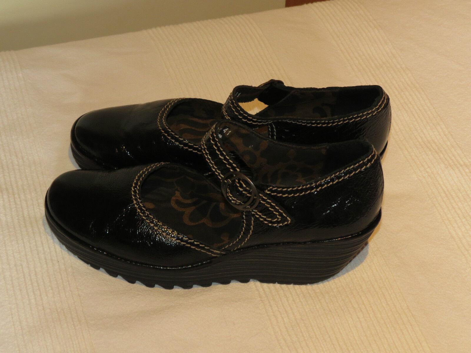 FLY LONDON YERBA BLACK PATENT LEATHER MARY JANE Schuhe UK 8 EUR 41 BNWOB
