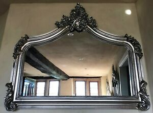 Antique Silver French Vintage Period Over Mantle Scroll