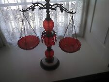 Bordello Scales of Justice Brass Metal~Ornate Red Glass Hollywood Regency
