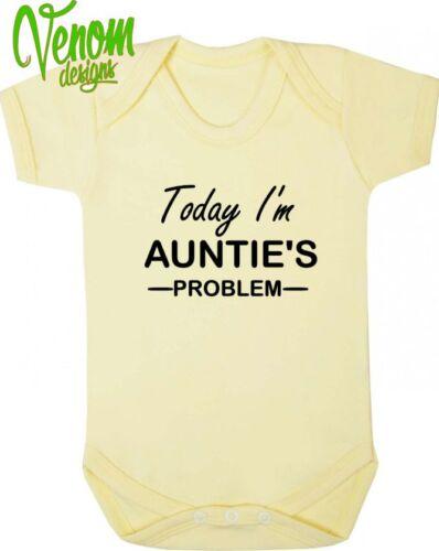 Aujourd/'hui je suis tante problème drôle humour bébé grandir body costume gilet cadeau noël