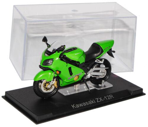 Kawasaki ZX-12R verde Modellcarsonline 1//24 modelo motocicleta con o sin indiv...