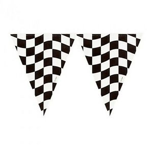 Black-amp-White-Chequer-Plastic-Bunting-Banner-Flags-Grand-Prix-Car-Racing-Party