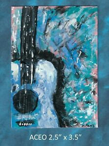 Original-ACEO-Abstract-Guitar-miniature-acrylic-painting-not-framed