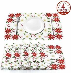 4x-Mesa-De-Navidad-Bordado-Manteles-Individuales-Poinsettia-Manteles-Individuales-Mesa-Decoracion-de
