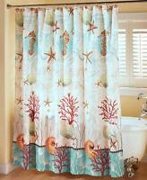 Coastal Shower Curtain Seahorse Starfish Sea Decor Ocean Beach Bathroom Decor