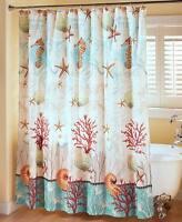 Coastal Shower Curtain Seahorse Starfish Sea Decor Ocean Beach Bathroom Decor