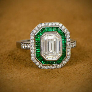 Details about 2.25ct Emerald Cut Diamond Art Deco Engagement Wedding 925  Sterling Silver Ring