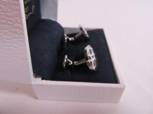 RRP £85 #CL41 Penrose of London Designer Portobello Silver and Black Cufflinks