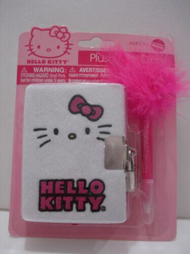 Hello Kitty Plush Mini Diary with Lock /& Marabou Feather Pen Sticker Sanrio NWT
