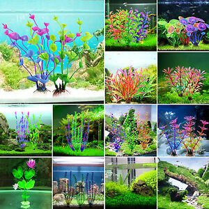 Artificial aquarium fish tank pond plastic plant lotus for Artificial fish pond plants