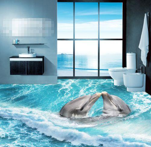 3D Playful Dolphin Wave Floor WallPaper Murals Wall Print Decal 5D AJ WALLPAPER