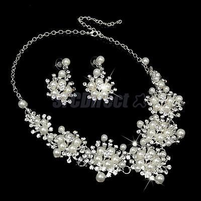 Silver Wedding Bridal Formal Jewelry Crystal Diamante Pearl Necklace Earring Set