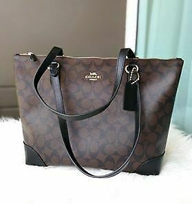 Authentic-Coach-Zip-Top-Tote-in-Signature-Canvas-F29208-Brown